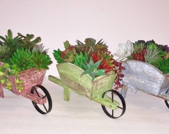 Succulent Planter in Shabby Chic Wheelbarrow, Faux Succulent Planter,  Rustic Planter, Artificial Succulent, Unique Succulent Gift