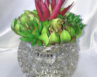 Faux Succulent Planter in Concave Circle Clear Glass, Desk Accessory, Succulent Garden, Unique Succulent, Artificial Succulent