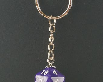 D20 Dice Dungeons & Dragons RPG Fantasy Purple Swirl Keychain