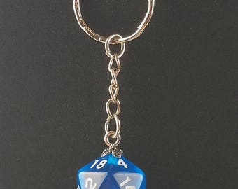 D20 Dice Dungeons & Dragons RPG Fantasy Clear Blue Keychain