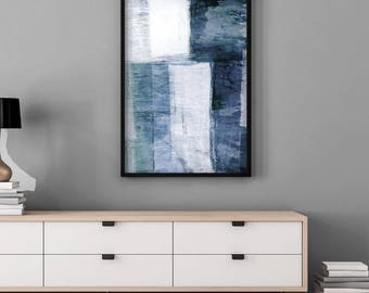 abstract art print blue u0026 white print oversized wall art abstract watercolor