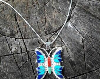 Multi-Stone Southwestern Butterfly Necklace