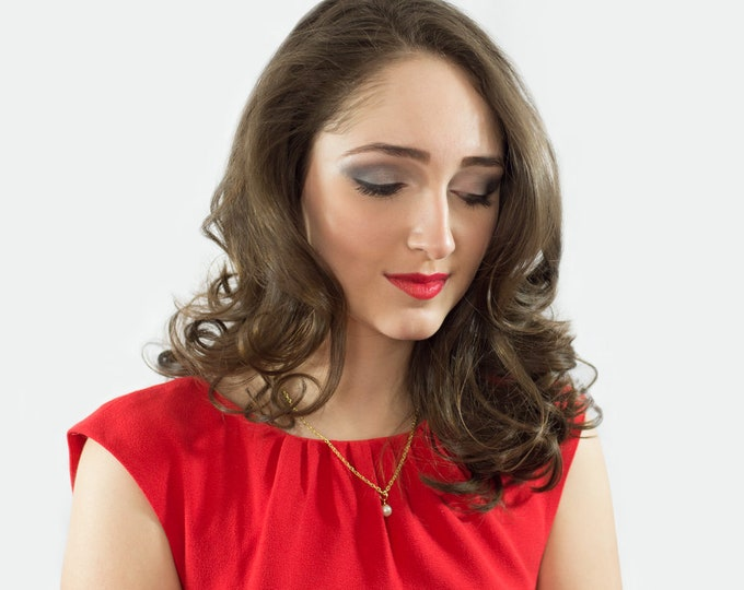 Single Pearl Necklace, Swarovski or Freshwater Pearl Necklace, Prom Jewelry, Wedding Jewelry, Bridesmaid Necklace, Bride Jewelry