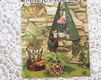 70s Macrame book, Macrame Magic 1975, Plant hanger, Hanging table, Macrame instructions