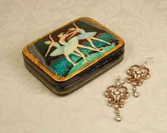 "Ballet Russian lacquer box ""Swan Lake"" ballerinas Hand painted box Kholui folk Art"