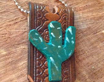Cactus key fob on repurposed leather, cactus is hand drawn, hand cut, and hand painted, with ball chain