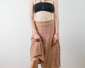 Vintage high waist summer skirt, 70s skirt, red and white skirt, light viscose skirt, floral geometric pattern skirt, large size