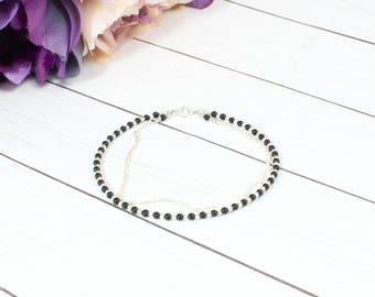 Black Bracelet,Black Bracelet,Tiny Onyx Beaded Bracelet,Minimalist Beaded Bracelet,Stacking Bracelet,Bracelet for woman,Gift for her