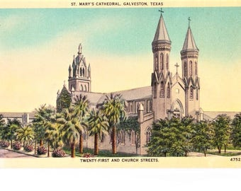 Mid Century Galveston Texas TX Linen Postcard St. Mary's Cathedral Church 1942 Posted Vintage Stamp