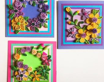 3 Handmade Quilling Cards,Card with flowers,Quilling flower card,Floral Card for mother,Card for woman,Card for sister,Greeting card