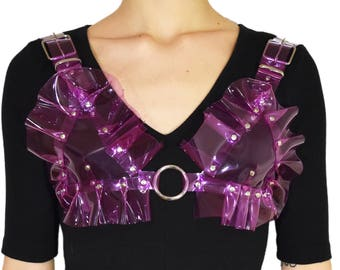 Clear purple ruffle o ring bra