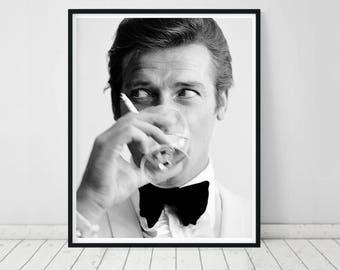Roger Moore poster • Bond Martini Roger Moore James Bond Print Bond art James Bond 007 Roger Moore photo James Bond Poster Roger Moore Print