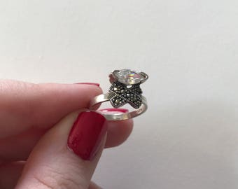 Vintage Elegant Radiant Cubic Zirconia and Marcasite 925 Sterling Silver Ring