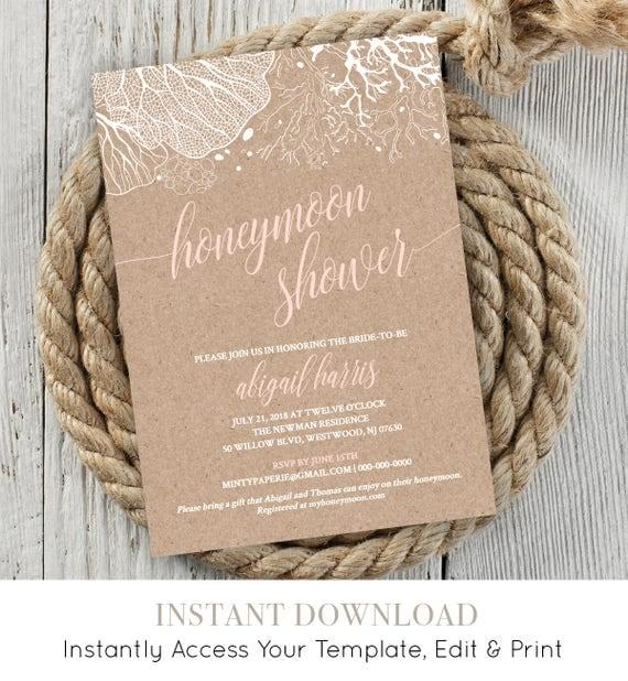 Honeymoon Shower Invitation, Bridal Shower Invite, Wedding Shower Printable, Honeymoon Fund, Instant Download, Fully Editable #NC-118BS