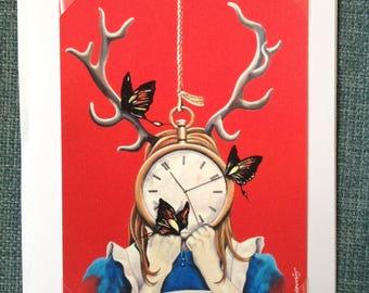 Greeting card, signed mini print, keepsake, Alice in Wonderland, surreal, stag, antlers, butterflies, pocket watch, Alice, gift, signed