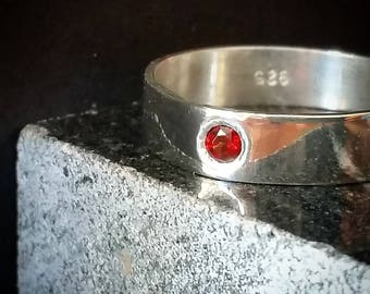 Garnet Ring Brass or Silver 3mm Garnet Red Garnet January Birthstone Ring Anniversary Ring Mens Ring Mens Engagement Ring Garnet Ring