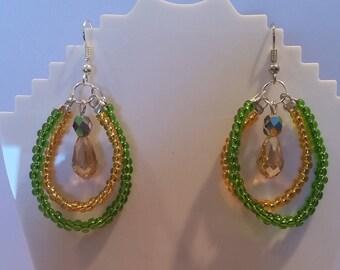 Double teardrop/hoop beaded earings