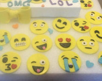 Fondant emoji cupcake topper set of 12