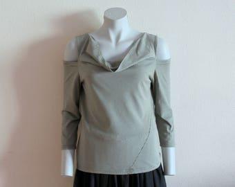 Womens MARIMEKKO Shirt Nautical Top Grey Black Striped Sailor Blouse Marine Sweater Open Shoulder Long Sleeve Cotton Jersey Large Size