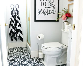 """Downloadable and Printable Artwork Bathroom """"Please Wait to be Seated"""" Sign"""