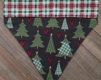 Country Christmas Trees Plaid Slide-On Bandana, Country Christmas Trees Plaid Dog/Cat Slide-On Bandana