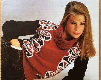 Sirdar Knitting Pattern, Vintage Knitting Pattern, Ladies Sweater Pattern, Roll Neck Jumper, Patterned Ladies Jumper, Jumper Pattern, 6275