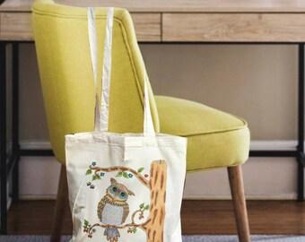 Owl tote, tote canvas, tote bag canvas, canvas tote bag, tote canvas bag, owl bag, reusable Grocery bag, reusable bag, grocery bag, owl gift
