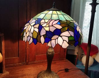 Resin Harlequin Desk Lamp in Blues and Greens
