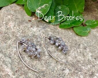 Labradorite Earrings, Sundance Jewelry, Gray Earrings, Sterling Silver Earrings, Marquise Shaped Earrings, Boho Earrings, Gemstone Earrings
