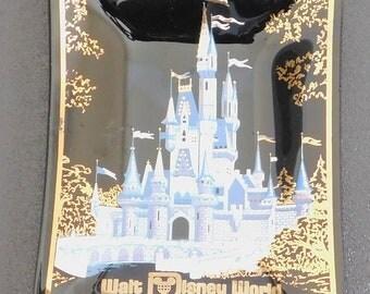 Vintage Walt Disney World Cinderella Castle Glass Ashtray, Black Ashtray, Blue White Castle, Smoked Glass Dish, Memorabilia, Souvenir, Old