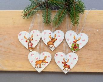 christmas reindeer wooden ornaments animal heart wood ornaments christmas secret santa gift idea for kids