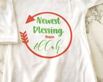 Newest Blessing from Allah newborn nightgown, newborn sleep outfit,  eid gift, muslim baby, muslim gift, muslim bodysuit, new muslim baby