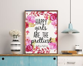 Nursery wall art print, Happy girls are the prettiest printable, Audrey Hepburn wall art quote, Girl nursery art, Printable art