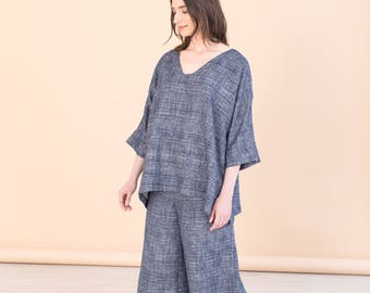Blue loose short tunic, oversize tunic, boho spring clothing, beach cover up, eco friendly, minimal women top, bohochic top, womens top