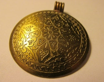 Antique Gold Finish Metallic Round Pendant with Floral Motif, 42mm