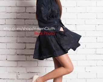 Little Black Dress Ukainian Embroidered Vyshyvanka Short Boho Tunic, Mexican Mini Dress, Kaftan, Abaya, Caftan. Bohemian linen handmade rti