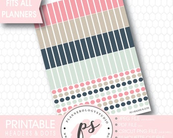 Blank Header & Dots Printable Planner Stickers | JPG/PDF/Silhouette Cut File