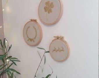 "Frame ""Noël Scandinavian"" linen and gold glitter - Christmas Deco personalized gift idea"