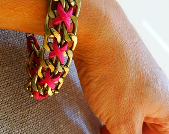 Chunky pink bracelet women woven metal chain pink suede bracelet braided leather bracelet girlfriend jewelry ideas