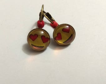 smiley heart glass cabochon bronze metal earrings