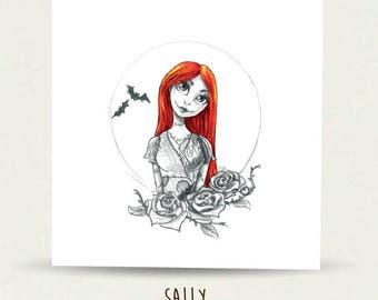 Sally, I sense something, Illustration, art, pencil, Hand Drawn, Elska Cards & Gifts, Digitally Printed, Greeting Card, Blank inside