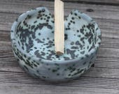 Ceramic Smudge Bowl, Sage, Cedar, Sweet Grass, or Palo Santo Holder, Hand Thrown Pottery, Speckled, Grey, Blue, Moonscape