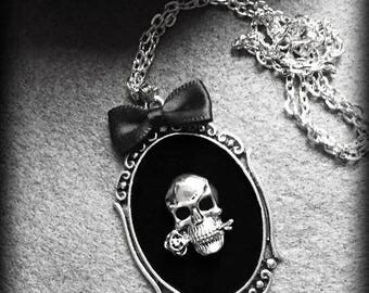 Gothic Skull Necklace, Skull Pendant, Black Velvet Cameo, Handmade Gothic Victorian Jewelry, Antique Silver Frame, Black Bow, Gothic Gift