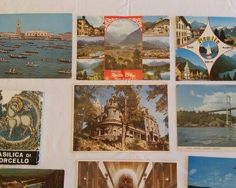14 vintage unused world postcards 1980 's & 90's - basilica di torcello italy - philippines - germany - canada - austria - ontario manilla