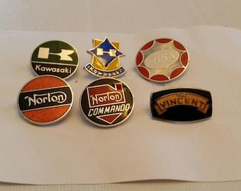 6 vintage motorcycle biker lapel / hat pins - bsa norton kawasaki vincent- enamel badges tie tac jewelry collection motor cycle