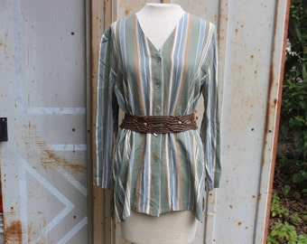 80's Mint Green Striped Shirt-M