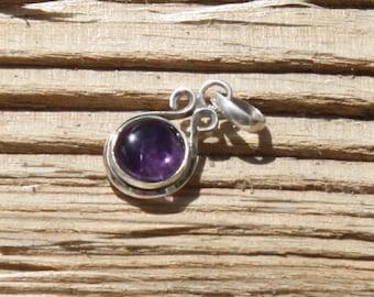 Oval pendant in silver 925 and amethyst, semi precious stone