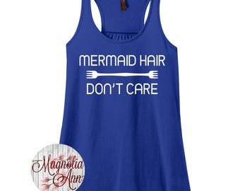 Mermaid Hair Don't Care, Beach Women's Racerback Tank Top in 9 Colors in Sizes Small-4X, Plus Size