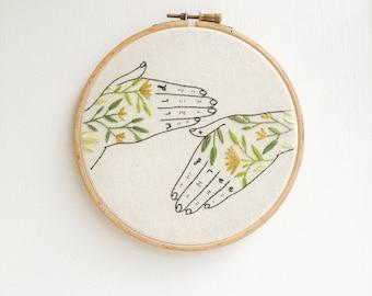 "Wild + Free Tattoo Hands, 6"" Hand Embroidery Hoop Art"