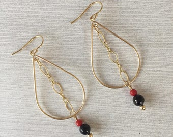 Azabache Teardrop Hoop Earrings, Jet Gemstone, Bamboo Coral,  Gold Filled Wire and Chain, Boho Chic